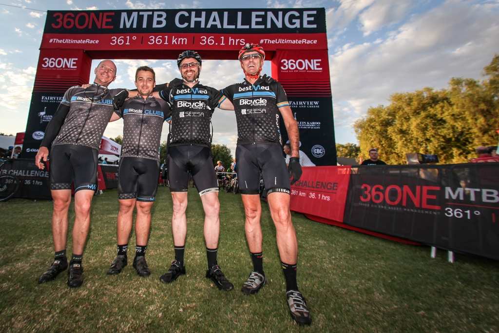 The 36ONE MTB Challenge offers rider the opportunity to ride the full 361km solo, in a team of two, or as a two or four man relay team; as James Spring, Brett Stephen, Mitchell Arntzen and Carl van Maanen did in 2016. Photo by Oakpics.com.