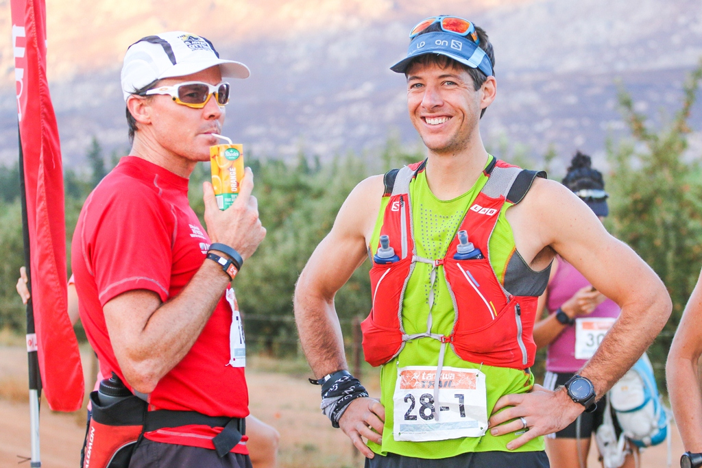 Tim Deane enjoys a Rhodes Quality 100% fruit juice at the 2017 Tankwa Trail. Photo by Oakpics.com.