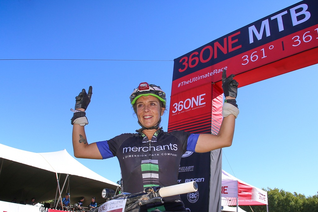 Jeannie Dreyer raced to victory in a time of 16 hours, 59 minutes and 27 seconds in the 2017 36ONE MTB Challenge. Photo by Oakpics.com.
