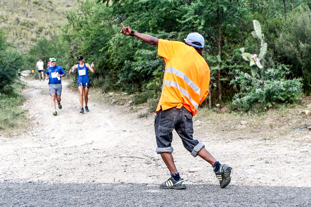 Even the route marshals get into the party spirit at the Dryland Traverse. Photo by Oakpics.com.