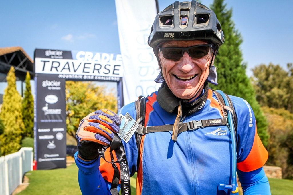 David Purnell poses for a finish line photo after completing the 2017 Glacier Cradle Traverse, on Sunday the 7th of May. Photo by Oakpics.com.