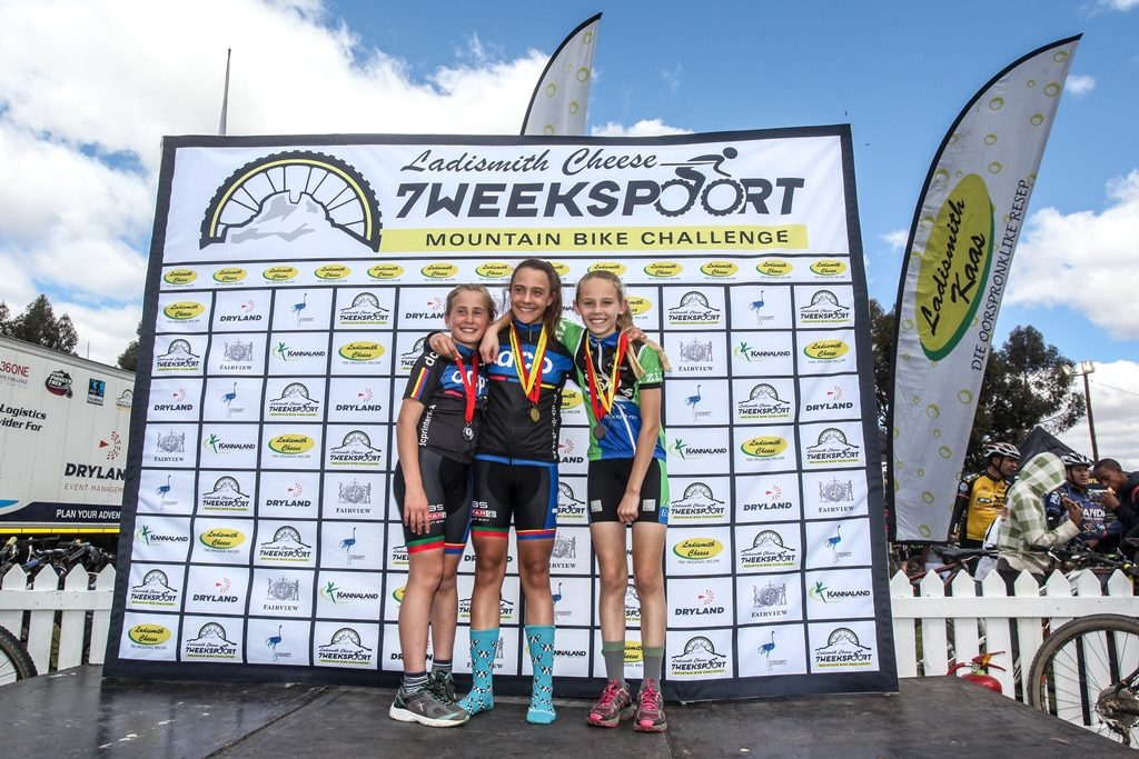 In 2016 the Ladismith Cheese 7Weekspoort MTB Challenge doubled as the Western Province Marathon Championships, which provided the inspiration for the Schools' Race. Photo by Oakpics.com.
