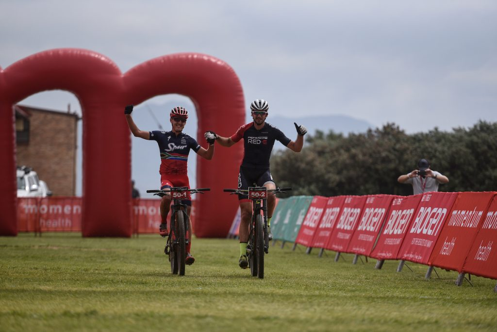 Alan Hatherly (left) and Matt Beers (right) raced to stage victory on Stage 1 of the Momentum Health Cape Pioneer Trek, presented by Biogen, on Sunday the 15th of October. Photo by Zoon Cronje.