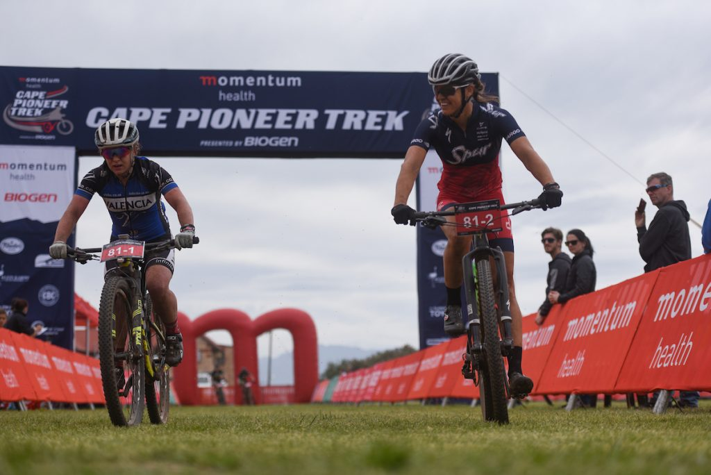Amy-Beth McDougall (left) and Ariane Lüthi (right) made it a perfect start to the Momentum Health Cape Pioneer Trek, presented by Biogen, for Team Spur when they repeated the effort of the men's team to win the opening stage. Photo by Zoon Cronje.