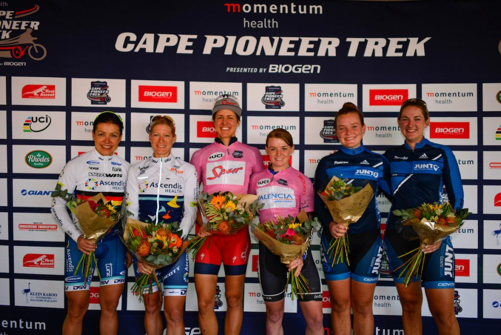 Momentum Health Cape Pioneer Trek, presented by Biogen, Stage 1 Podium. From left to right: Sabine Spitz & Robyn de Groot (Team Ascendis Health), Ariane Lüthi & Amy-Beth McDougall (Team Spur/Valencia) and Frankie du Toit & Nicky Giliomee (Junto Ladies). Photo by Zoon Cronje.
