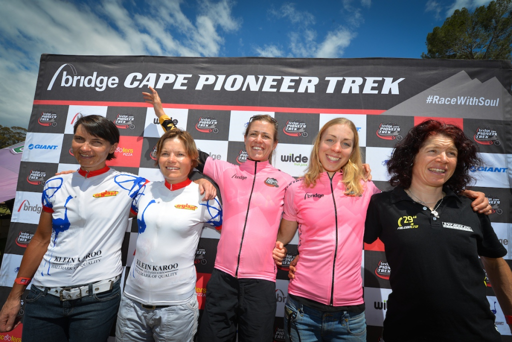Ariane Lüthi (third from left) returns to the Momentum Health Cape Pioneer Trek, presented by Biogen, after last racing the event when she claimed victory alongside Annika Langvad (second from right) in 2013. Photo by Zoon Cronje.