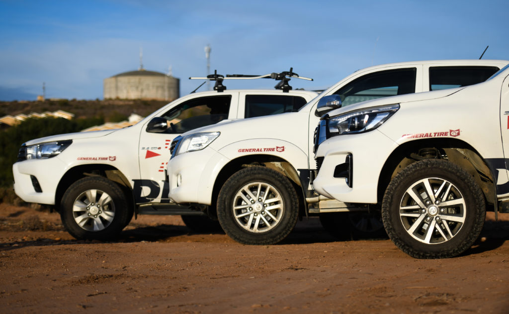 Dryland Event Management's Toyota Hilux's are equipped with either the General Grabber AT3 or X3 tyres, depending on the particular vehicle's role within the fleet. Photo by ZC Marketing Consulting.
